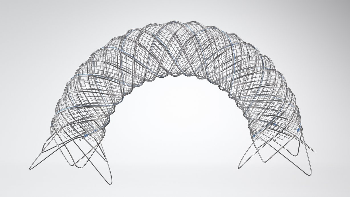 *The blue wire denotes the radiopaque stent body material